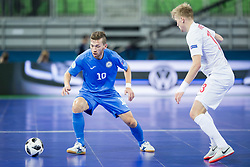 Chingiz Yessenamanov of Kazakhstan and Tomasz Kriezel of Poland during futsal match between Poland and Kazakhstan at Day 3 of UEFA Futsal EURO 2018, on February 1, 2018 in Arena Stozice, Ljubljana, Slovenia. Photo by Urban Urbanc / Sportida