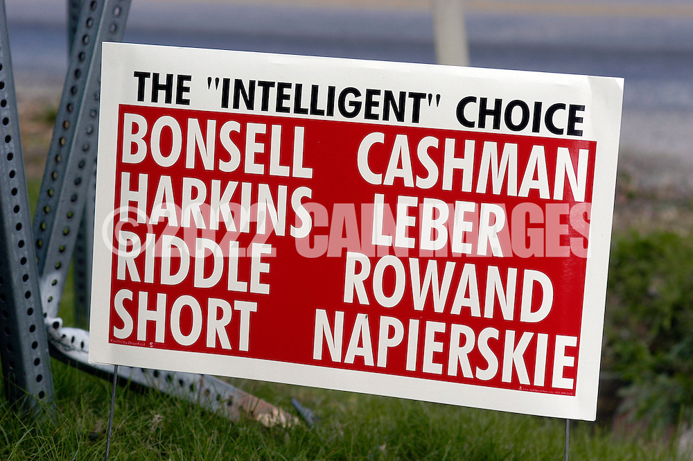 Dover, PA - NOVEMBER 4: Campaign signs for and against the current Dover School District school board litter the town November 4, 2005 in Dover, Pennsylvania. (Photo by William Thomas Cain/)