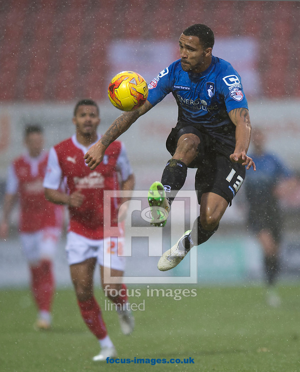 Callum Wilson of Bournemouth loos to collect the ball during the Sky Bet Championship match at the New York Stadium, Rotherham<br /> Picture by Russell Hart/Focus Images Ltd 07791 688 420<br /> 17/01/2015