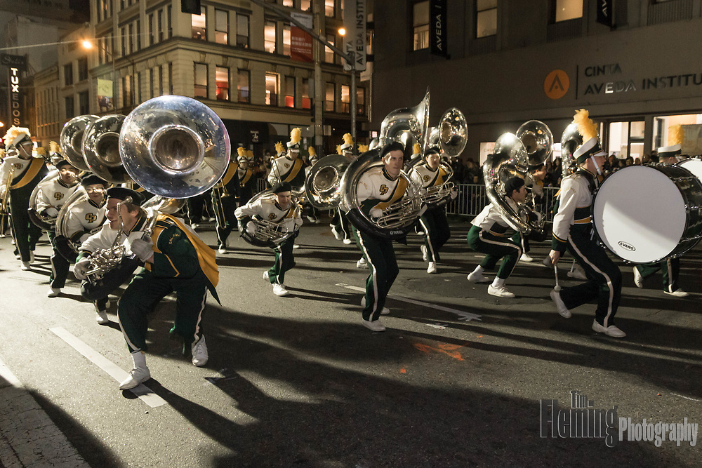San Francisco, California. 24th February, 2018. The Cal Poly Marching Band performs during the 2018 Chinese New Year Parade in San Francisco, USA. The San Francisco Chinese New Year Festival and Parade is the oldest and largest event of its kind outside of Asia, and the largest Asian cultural event in North America. Credit: Tim Fleming/Alamy Live News
