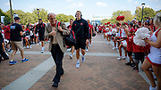 Lincoln, NE - Sept 2:  Coach Mike Riley of the Nebraska Cornhuskers walks into the stadium before their game against the Arkansas State Red Wolves at Memorial Stadium in Lincoln Nebraska September 2 2017. Photo by Eric Francis