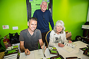 Forest Green Rovers chairman Dale Vince, Jilly Cooper and Chris Gardner during the Vanarama National League match between Forest Green Rovers and Guiseley  at the New Lawn, Forest Green, United Kingdom on 22 October 2016. Photo by Shane Healey.