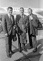 Apollo XIII Astronauts on arrival at Dublin Airport,(L-R) Lunar Module Pilot Fred W Haise, Command Module Pilot John L Swigert and Commander James A Lovell, 13/10/1970 (Part of the Independent Newspapers Ireland/NLI Collection).