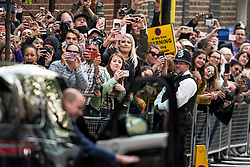 © Licensed to London News Pictures. 23/04/2018. London, UK. Crowds of public use their mobile phones to take pictures as PRINCE WILLIAM and THE DUCHESS OF CAMBRIDGE leave St Mary's Hospital with their new baby boy. Photo credit: Ben Cawthra/LNP