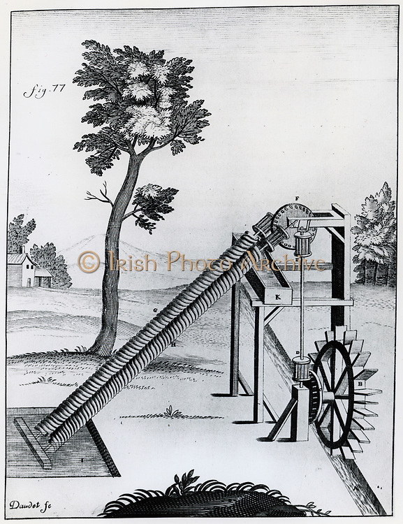 Twin Archimedean screw raising water. Engraving 1719.