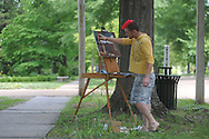 Students in an Ole Miss paint class painting pictures of the houses on North Lamar on Tuesday, May 18, 2010.