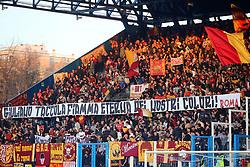 """Foto LaPresse/Filippo Rubin<br /> 16/03/2019 Ferrara (Italia)<br /> Sport Calcio<br /> Spal - Roma - Campionato di calcio Serie A 2018/2019 - Stadio """"Paolo Mazza""""<br /> Nella foto: I TIFOSI DELLA ROMA<br /> <br /> Photo LaPresse/Filippo Rubin<br /> March 16, 2019 Ferrara (Italy)<br /> Sport Soccer<br /> Spal vs Roma - Italian Football Championship League A 2018/2019 - """"Paolo Mazza"""" Stadium <br /> In the pic: ROMA SUPPORTERS"""