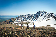 Hikers climb the ridge of King's Throne in Yukon's Kluane National Park.