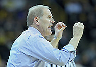 January 14, 2011: Michigan Wolverines head coach John Beilein argues a call during the NCAA basketball game between the Michigan Wolverines and the Iowa Hawkeyes at Carver-Hawkeye Arena in Iowa City, Iowa on Saturday, January 14, 2011. Iowa defeated Michigan 75-59.