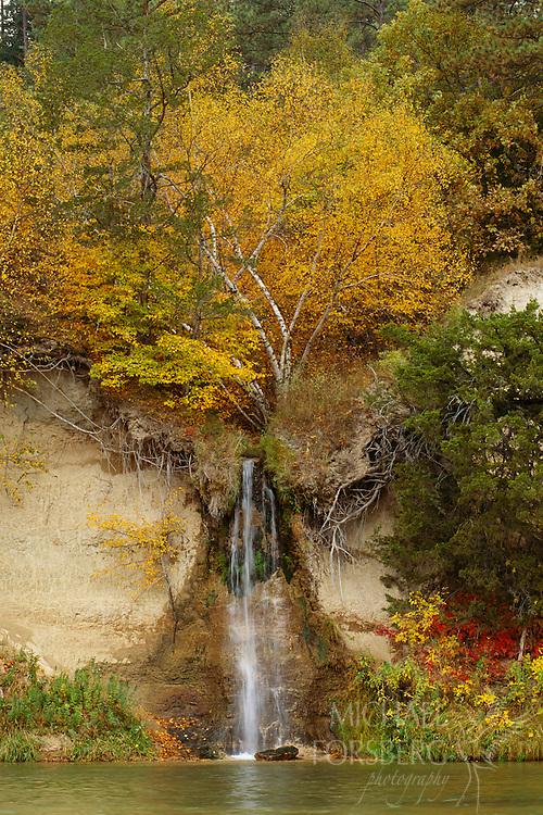 Waterfall in Autumn at Niobrara Scenic Riverway, Nebraska