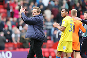AFC Wimbledon manager Neal Ardley clapping during the EFL Sky Bet League 1 match between Charlton Athletic and AFC Wimbledon at The Valley, London, England on 28 October 2017. Photo by Matthew Redman.