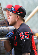 May 8, 2018 - Milwaukee, WI, U.S. - MILWAUKEE, WI - MAY 08: Cleveland Indians Catcher Roberto Perez (55) looks on before a MLB game between the Milwaukee Brewers and Cleveland Indians on May 8, 2018 at Miller Park in Milwaukee, WI. The Brewers defeated the Indians 3-2.(Photo by Nick Wosika/Icon Sportswire) (Credit Image: © Nick Wosika/Icon SMI via ZUMA Press)