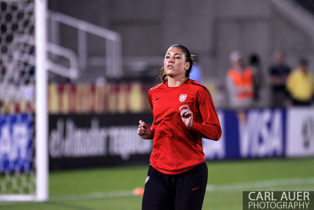 September 19, 2012 Commerce City, CO.  USA gk Hope Solo (1) warms up prior to the Soccer Match between the USA Women's National Team and the Women's Australian team at Dick's Sporting Goods Park in Commerce City, Colorado