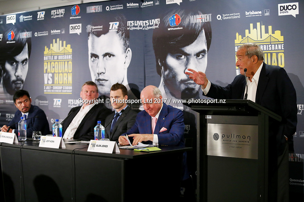 Bob Arum speaks during a press conference ahead to the World Boxing Organisation welterweight title fight between defender Manny Pacquiao and Jeff Horn at the Pullman Sydney Airport Hotel, Sydney, Australia. 27 April 2017. Copyright photo: Jason McCawley / www.photosport.nz