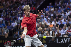 September 21, 2018 - Chicago, Illinois, U.S - Team World member KEVIN ANDERSON of South Africa hits a forehand during the first doubles match on Day One of the Laver Cup at the United Center in Chicago, Illinois. (Credit Image: © Shelley Lipton/ZUMA Wire)