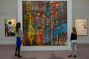 "Sotheby's London Exhibition of Sale Highlights from the Forthcoming Major New York Auctions of Contemporary and Impressionist and Modern Art, including exceptional Diamonds from Geneva. The auctions will include: $25-35 million masterpiece by Gerhard Richter  (pictured) ; Major works by Matisse and Léger never before offered at auction; a Claude Monet - Le Pont japonais $12-18m ; a Giacometti sculpture; The ""Graff Vivid Yellow""  -  At 100.09 carats, one of the rarest yellow diamonds of its size (est. $15-25 million); The Victory Diamond - A 31.34-carat diamond named to commemorate the Allied Victory in World War II ($5-8 million); and one of the world's largest known round brilliant-cut diamonds weighing 103.46 carats (est. $3.5-5 million). They will take place in New York and Geneva 11-15 April 2014. Sotheby's, New Bond St, London, UK."