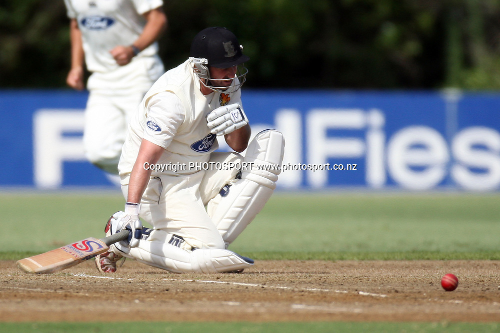 Neal Parlane after being hit, Plunket Shield, 4 day domestic cricket. Auckland Aces v Wellington Firebirds, Colin Maiden Park, Auckland. 22 March 2011. Photo: William Booth/photosport.co.nz