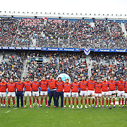 The French team sing the National Anthem during the Argentina V France test match at Estadio Jose Amalfitani, Buenos Aires,  Argentina. 26th June 2010. Photo Tim Clayton...