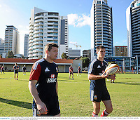 3 June 2013; Brian O'Driscoll, left, and Jonathan Sexton, British & Irish Lions, during squad training ahead of their game against Western Force on Wednesday. British & Irish Lions Tour 2013, Squad Training, Langley Park, Perth, Australia. Picture credit: Stephen McCarthy / SPORTSFILE