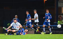 Ian Henderson of Rochdale with a slide tackle - Mandatory byline: Matt McNulty/JMP - 07966386802 - 29/09/2015 - FOOTBALL - Spotland Stadium -Rochdale,England - Rochdale v Shrewsbury - SkyBet League One