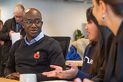 © Licensed to London News Pictures. 11/11/2019. London, UK. Liberal Democrat Shadow Business, Energy and Industrial Strategy Secretary Sam Gyimah during a visit to 'WhiteHat', a tech start-up founded to help people access apprenticeships. Sam Gyimah is joined by London Mayoral candidate, Siobhan Benita, to discuss the party's plans for the creation of an ambitious Skills Wallet which gives every adult £10,000 to spend on education and training throughout their lives. Photo credit: Peter Manning/LNP
