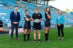 (Left to Right ) Representatives from The Maynard School with Patricia Garcia, Amy Garnett, Garnet MacKinder attend a Sponsors evening to announce their shirt sponsorship for Exeter Chiefs Women - Mandatory by-line: Ryan Hiscott/JMP - 17/09/2020 - RUGBY - Sandy Park - Exeter, England - Exeter Chiefs Women - Shirt Sponsors Evening