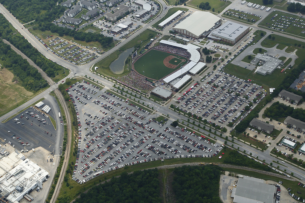 Aerial photographs of Baum Stadium during the Super Regional Championships<br /> <br /> <br /> Photo by Wesley Hitt 2015