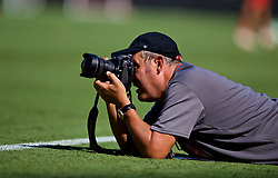 CHARLOTTE, USA - Saturday, July 21, 2018: Photographer John Powell during a training session at the Bank of America Stadium ahead of a preseason International Champions Cup match between Borussia Dortmund and Liverpool FC. (Pic by David Rawcliffe/Propaganda)