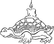 a comic turtle carrying a candle on her back -a  free hand drawn, comic style editable vector