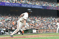April 11, 2018 - San Francisco, CA, U.S. - SAN FRANCISCO, CA - APRIL 11:San Francisco Giants Starting Pitcher Andrew Suarez (59) takes off for first base after connecting on a bunt during the game between the Arizona Diamondbacks and the San Francisco Giants on Wednesday, April 11, 2018 at AT&T Park in San Francisco, CA (Photo by Douglas Stringer/Icon Sportswire) (Credit Image: © Douglas Stringer/Icon SMI via ZUMA Press)