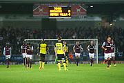 Aston Villa players head back after scoring the fourth goal during the EFL Sky Bet Championship match between Burton Albion and Aston Villa at the Pirelli Stadium, Burton upon Trent, England on 26 September 2017. Photo by John Potts.