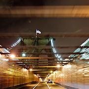 Driving on Brooklyn Brdige by night