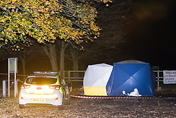 © Licensed to London News Pictures . 09/11/2017 . Manchester , UK . A forensic tent erected over a car near to playing fields on Cross Lane East in Partington , within which police report finding a body , late last night (8th November 2017) . Greater Manchester Police say they attended to reports that a car had exploded and was on fire at the location, when they made the discovery . Photo credit: Joel Goodman/LNP