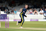 Mason Crane of Hampshire bowling during the Royal London One-Day Cup final  between Somerset County Cricket Club and Hampshire County Cricket Club at Lord's Cricket Ground, St John's Wood, United Kingdom on 25 May 2019.