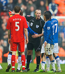 LIVERPOOL, ENGLAND - Saturday, February 6, 2010: Everton's Steven Pienaar is shown a second yellow card and sent off by referee Martin Atkinson during the Premiership match against Liverpool at Anfield. The 213th Merseyside Derby. (Photo by: David Rawcliffe/Propaganda)