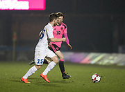 Scotland's Craig Wighton and Estonia's Oskar Berggren- Scotland under 21s v Estonia international challenge match at St Mirren Park, St Mirren. Pic David Young<br />  <br /> - © David Young - www.davidyoungphoto.co.uk - email: davidyoungphoto@gmail.com