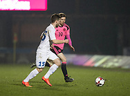Scotland's Craig Wighton and Estonia's Oskar Berggren- Scotland under 21s v Estonia international challenge match at St Mirren Park, St Mirren. Pic David Young<br />  <br /> - &copy; David Young - www.davidyoungphoto.co.uk - email: davidyoungphoto@gmail.com