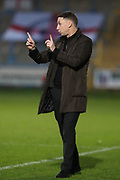 FC Halifax Town Manager, Jamie Fullarton during the Vanarama National League match between FC Halifax Town and Dover Athletic at the Shay, Halifax, United Kingdom on 17 November 2018.