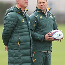Stock images from 2014 South African management, <br />  Springbok coach Heyneke Meyer with Louis Koen (Kicking Coach<br />  (Photo by Steve Haag)