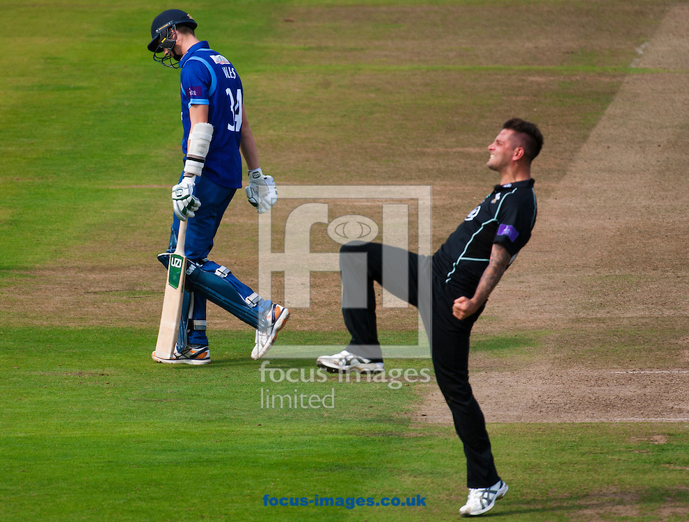 Jade Durnbach of Surrey CCC dismisses Craig Miles of Gloucestershire on his way to a hat trick during the Royal London One Day Cup Final match at Lord's, London<br /> Picture by Jack Megaw/Focus Images Ltd +44 7481 764811<br /> 19/09/2015