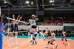 16.05.2019, Montreux, SUI, Montreux Volley Masters 2019, Deutschland vs Polen, im Bild Spike by Louisa Lippmann (Germany #11) // during the Montreux Volley Masters match between Germany and Poland in Montreux, Switzerland on 2019/05/16. EXPA Pictures © 2019, PhotoCredit: EXPA/ Eibner-Pressefoto/ beautiful sports/Schiller<br /> <br /> *****ATTENTION - OUT of GER*****