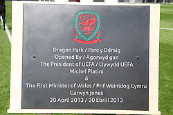 NEWPORT, WALES - Saturday, April 20, 2013: A plaque at the opening of the FAW National Development Centre in Newport. (Pic by David Rawcliffe/Propaganda)