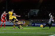 Ben Tozer of Northampton Town has the ball in the back of the net against Leyton Orient but it is ruled out for off-side during the Johnstone's Paint Trophy match at the Matchroom Stadium London,<br /> Picture by David Horn/Focus Images Ltd +44 7545 970036<br /> 11/11/2014