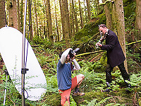 Tim McGuire photographing Geoffrey Castle, violinist.  Little Si trail, Cascade Mountains near Northbend, Washington.