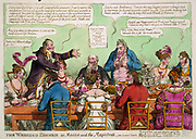 The Wedding Dinner: Lord Mayor of London at wedding breakfast at London Tavern of Moses Abrahams and Elizabeth, daughter of rich Jewish fishmonger Michael Myers, centre. Print 1812. Satire Celebration Toast  Stereotyping