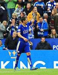 Leonardo Ulloa of Leicester City celebrates after scoring his sides third goal  - Mandatory by-line: Matt McNulty/JMP - 24/04/2016 - FOOTBALL - King Power Stadium - Leicester, England - Leicester City v Swansea City - Barclays Premier League