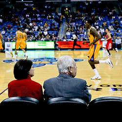 Jan 25, 2013; New Orleans, LA, USA; New Orleans Hornets owners Tom Benson and Gayle Benson watch during the third quarter of a game Houston Rockets at the New Orleans Arena. The Rockets defeated the Hornets 100-82. Mandatory Credit: Derick E. Hingle-USA TODAY Sports