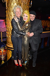 Left to right, ELLEN VON UNWERTH, PAM HOGG and SASCHA LILIC at a party to celebrate Pam Hogg receiving an honorary Doctorate from Glasgow University held at Park Chinois, 17 Berkeley Street, London on 11th July 2016.