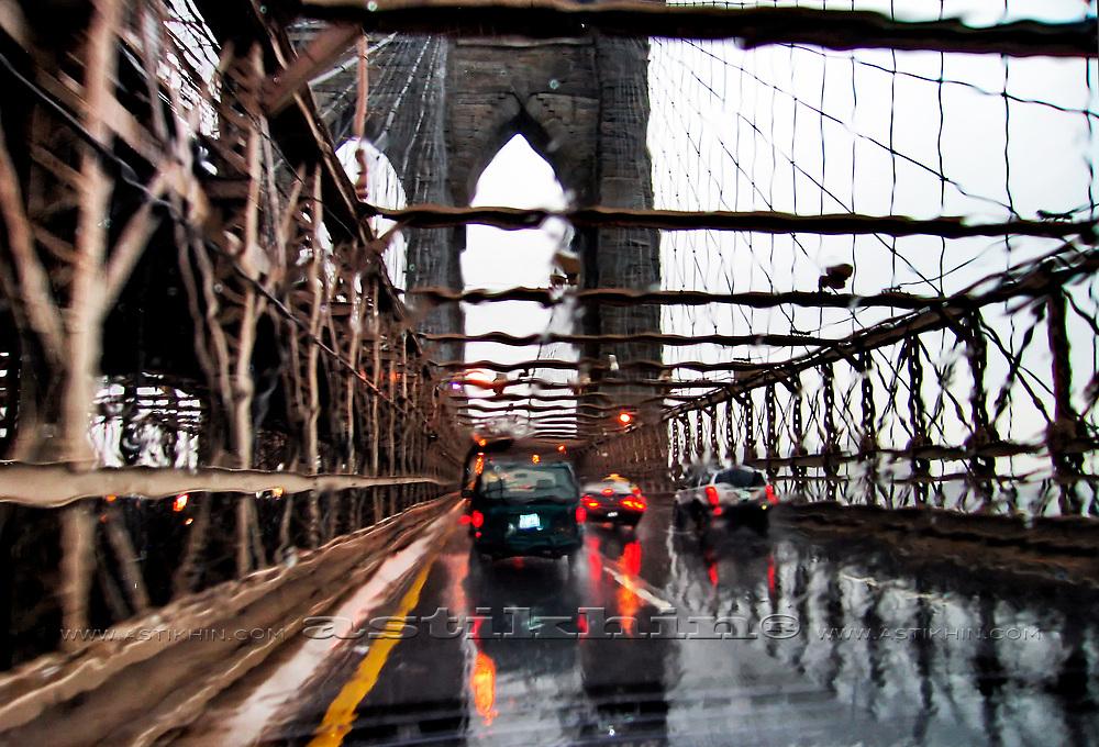 Rain on Brooklyn Bridge, New York City.