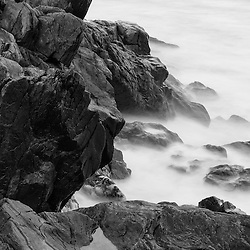 Rocks and surf. Wallis Sands State Park, Rye, New Hampshire.